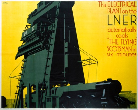ÔThis electrical plant on the LNER automatically cools ÒThe Flying ScotsmanÓ in six minutesÕ. Poster produced by London & North Eastern Railway (LNER). Artwork by Frank Newbould (1887-1951), who studied at Bradford College of Art and joined the War Office in 1942. He also designed posters for the GWR (Great Western Railway), Orient Line and Belgian Railways.