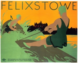 Poster produced for the London & North Eastern Railway (LNER) to promote rail travel to the popular Suffolk coastal resort of Felixstowe. The poster shows a woman waterskiing behind a man in a power boat, Artwork by Tom Purvis (1888-1957), who rallied for the professionalisation of commercial art. In 1930 he was one of the group of artists who founded the Society of Industrial Artists, which campaigned for improved standards of training for commercial artists in order to broaden their scope of employment. He became one of the first Royal Designers for Industry in 1936. Dimensions: 1016mm x 1270mm.