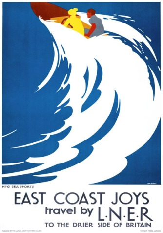 Poster produced in 1931 for London & North Eastern Railway (LNER) to promote rail travel to the East Coast of England. This poster, entitled 'Sea Sports', was the last in a series of six posters illustrating the various pastimes that could be enjoyed on the east coast. The posters formed a continuous scene when placed next to each other, but each was designed so that it could also stand alone. Artwork by Tom Purvis (1888-1957), who rallied for the professionalisation of commercial art. In 1930 he was one of the group of artists who founded the Society of Industrial Artists, which campaigned for improved standards of training for commercial artists in order to broaden their scope of employment.
